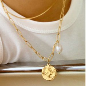 NEW 18K Gold Plated Coin Freshwater Pearl Necklace